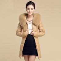 2014 Fahion PU Slim Women Down Coat Solid Fur Collar Winter Warm Female Parka Brand Long Coat Clothing Jacket W049
