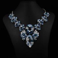 2014 Jewelry World Exclusive Desgin ZA colored crysatl necklaces pendants women statement flower choker necklace jewelry 8385
