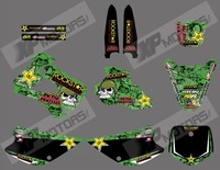 NEW STYLE 0474 ( ROCK STAR ) TEAM GRAPHICS & BACKGROUNDS DECALS FOR KAWASAKI KX85 KX100 KX 85 1998 1999 2000