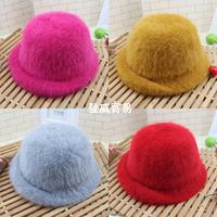 HT-1413 free shipping 100% rabbit hair girls winter hats  children fedoras hats accessories