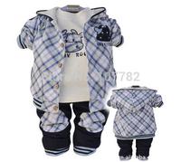 Retail 1set  2014 Autumn Baby Clothing Newborn Boys 3pcs Clothing Sets Cartoon Cow Plaid Baby Suit Coat + T-shirt + Pant CCC092