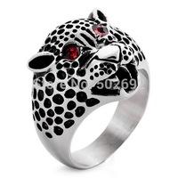 Male fashion titanium finger ring accessories Men red gem titanium ring leopard ring