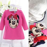 2014 girls fleece linning dress kids spring autumn dresses cartoon mouse style clothing for 2-7years girl child,warm Dress