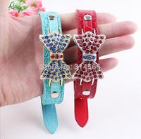 High-grade PU Pet Collars Crocodile Pattern Dog Collar Butterflies Collar Pet Supplies Size 39.5cm * 2 cm