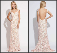 2015 New Elegant Pale Pink Cap Sleeve Lace Prom Dresses Sleeveless Open Back Scoop Neck Long Women Formal Evening Party Gowns