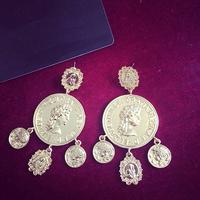Bohemian Queen's Head Coin Silver Dangle Earrings. Child of Wild, Festival,Ethnic, Boho, Gypsy, Tribal, India Fringe Earrings