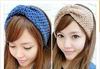 Korean Design Trendy Hair Accessories Woolen Yarn Knitted Hemp Flowers  Thicken Widen  Woman Headwear