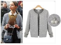 FREE SHIPPING 2014 new European and American major suit cardigan jacket autumn binding Bead Fashion