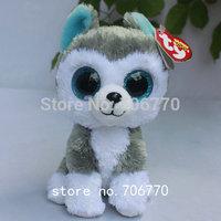 "IN HAND!   Rare Ty beanies Boo Cute Big eyes Animal ~Slush the Husky dog~DEFECT EYE ON SALE~Plush doll 6"" 15cm Stuffed TOY"