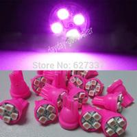 car led auto led w5w 194 4 SMD T10 4LED 4 LED smd 4smd 3528/1210 Wedge lamp Bulbs Car Side Indicator Light Pink 100pcs/lot