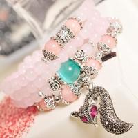Jewelry factory natural pink quartz crystal bracelets charm bracelet rhinestone fox pendant transporter multilayer bracelets 020