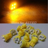 Yellow Car Auto LED 194 W5W 4SMD T10 4 led smd 3528 Wedge LED Light Bulb Lamp Parking Light Turn Lamps 100pcs/lot Free Shipping