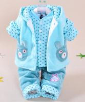 2014 new baby girl baby boy winter warm vest+coat+pant clothing sets 3pcs kids apparel children clothes sets kids clothes sets