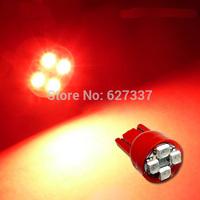 10Pcs/Lot Red Color T10 4 SMD 3528 LED Wedge car light 12Volt led bulbs led lamp smd led lamp Free Shipping