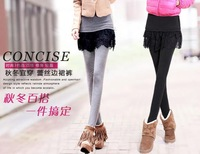 2014 new fall fashion casual lace leggings was thin package hip fake two pants S-3XL