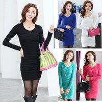 2014 new fashion autumn dress o-neck a-line women dress black multi-color winter dress slim bubble wrinkled party dresses