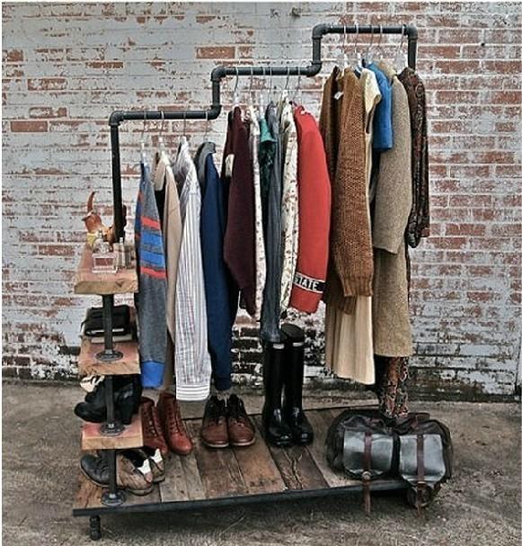 LOFT French wrought iron pipes vintage clothing hangers coat rack shelf shoe rack clothing store(China (Mainland))