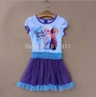 wholesale 6pcs/lot summer dress 2014 brand kids clothes kids elsa dress frozen girls dress frozen party lace tutu dress