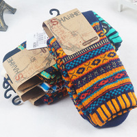 2014 fall  EU US new fashion casual fjacquard pattern cotton Over-The-Calf  thicken  knitted  men's socks,3pairs/lot