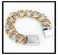"8.26""(21cm)*22mm 98g Free Shipping New Style Fashion Jewelry Silver Stainless Steel 18K Gold Plated Chain Mens Bracelets Bangles"