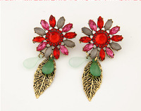 Min Order 10USD Fashion Retro Resin Flower Earring Antique Leaves Earrings For Women