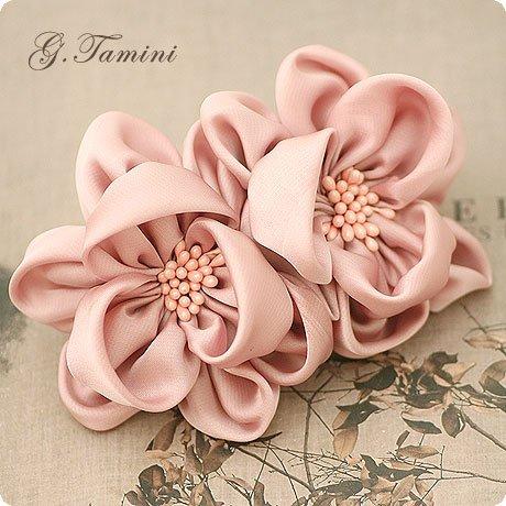 Dois imitação flor de seda com estame pistilo primavera grampo de cabelo Chiffon flor presilhas para meninas novos acessórios para o cabelo(China (Mainland))