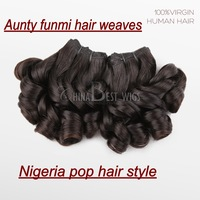 "2014 Nigeria aunty funmi human hair weaves 100g/pc  2pcs 10""-20"" cheap brazilian /peruvian/malaysian virgin Hair weave free ship"