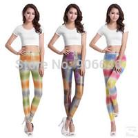 New arrival K356 2014 autumn pants women fashion multicolor stripe printed elastic slim faux leather leggings wholesale retail