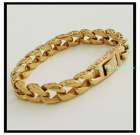 "8.66""(22cm)*11mm New Style Hot Fashion Jewelry Silver Stainless Steel 18K Gold Plated Chain Mens Bracelets Bangles,Best Quality"
