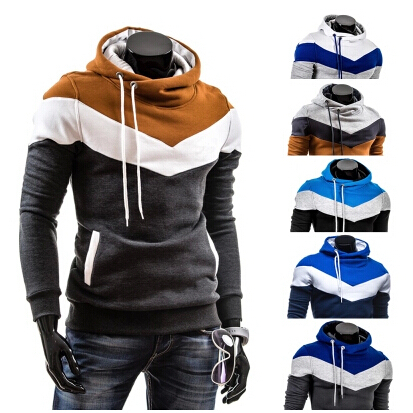2014 new men's color Hooded Fleece Hoodie sleeve head self thickening M-4XL(China (Mainland))