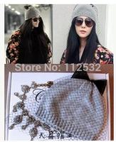 Handmade wool cashmere bow gauze veil hat women winter knitted hat millinery