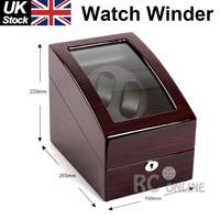 Luxury Ebony Dual wood Automatic Watch Winder Display Box 2 + 3 Leather storage UK Stock no Custom Taxes