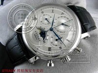STEADY  Valjoux 7750 Movement Functional Dial Black Roman Markers Silver Case Black Leather Strap Automatic Men's Watch