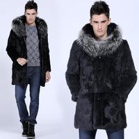 2014 male medium-long plus size fur coat fur collar son of faux leather clothing men's clothing