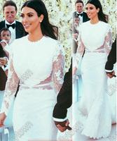 Kim Kardashian Mermaid Trumpet Lace Long Sleeves Backless Open Back Wedding Dresses Red Carpet Designer Celebrity Dresses