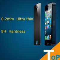10pcs Free shipping 9H Hardness 0.2mm Ultra thin toughened glass  screen protector  for iphone 5 s/5 c free shipping