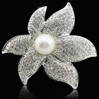 New fashion flower pearl brooch female Austrian crystal brooch birthday gift fashion jewelry