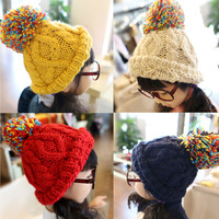 HT-1394 free shipping knitting girls winter hats beaine caps children's accessories