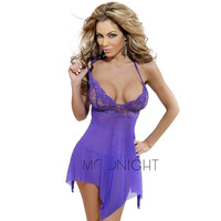 Free Shipping 2014 New Women's Sexy lingerie Purple & Pink & Blue Lace Lingerie Lady's diaphanous pajama lace Sleepwear Dress