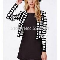 New Fashion Ladies' Vintage plaid print short jacket coat long sleeve outwear non-button casual slim brand designer tops