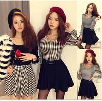 New 2014 Women Autumn Dresses Plaid Vintage Black Dresses For Lady Work Wear Office Knitted Winter Dress vestidos de festaYS8618