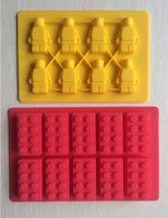 One Set Lego and  Robot type Muffin Sweet Candy Jelly fondant Cake chocolate  Mold Silicone tool Baking Pan- B183