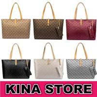 6 Colors Free shipping Women Fashion Embossed Plaid PVC Versatile Shoulder Bags