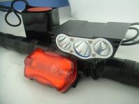 Freeshipping 6000 Lumen 3x CREE XM-L U2 LED Head Front Bicycle bike Lamp Light Headlamp 12000mAh Battery & Tail Light