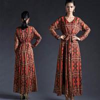 New 2014 women dress spring autumn formal vintage V-neck high waist print casual long dress vestidos plus size women clothing