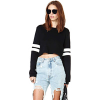 2014 New Arrival Women's Black color White baseball  stripe Print Crop Top T shirt T-shirt 6 sizes