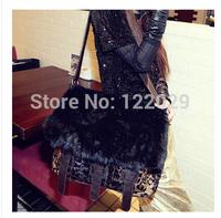 Free shipping Personality leopard women's handbag fashion Fur Rabbit shoulder bags lady messenger bag