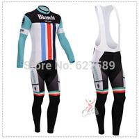 bianchi 2014 Thermal Fleece Cycling Jersey bib kit long Sleeve bib pants Cycling tight ropa Ciclismo bicycle fitness clothes MTB