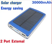 Mobile power supply 30000mAH Energy saving Solar Charger 2 Port External Battery Pack Power Bank For Cellphone iPhone 4 Portable