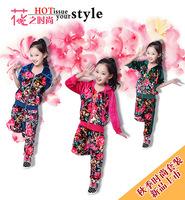 2014 children's clothing set child spring and autumn female child velvet  flower  long-sleeve cotton twinset